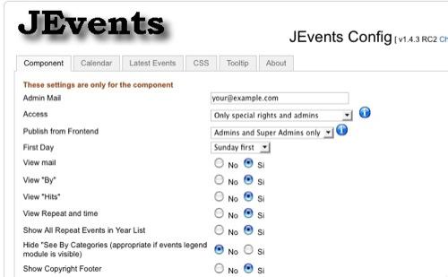 JEvents Configuration