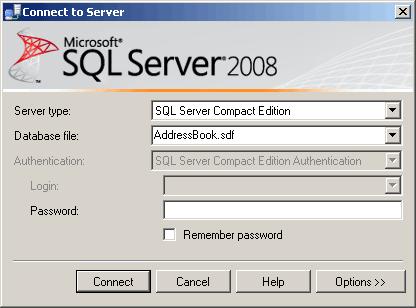 SQL Server Management Studio per la connessione ad un database di SQL Server Compact