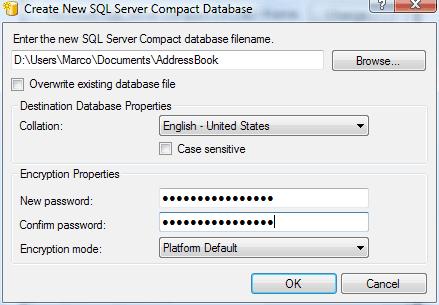 La finestra di dialogo per la creazione di un nuovo database di SQL Server Compact