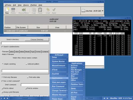 Il desktop e gli strumenti di Rip Linux