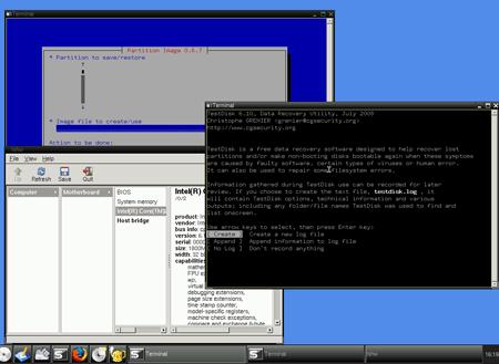 Il desktop di SystemRescueCd