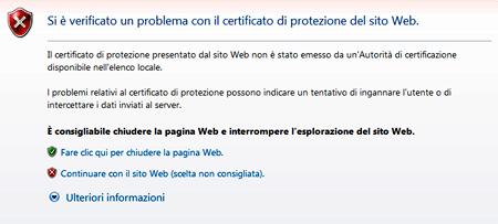 Certificato non valido su Explorer