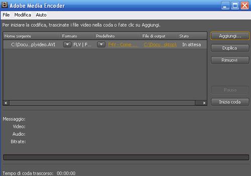 L'interfaccia dell'Adobe Media Encoder CS4