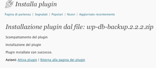 Installiamo wp-db-backup