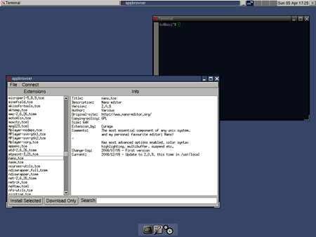 Il Desktop di Tiny Core