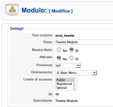 opzioni Tweets Module
