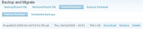 Lista backup disponibili