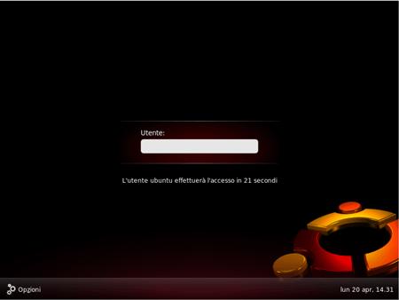 Il login di Ubuntu 9.04 RC