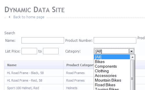 Una maschera di ricerca realizzata con i Dynamic Data Filtering