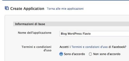 creiamo nuova applicazione facebook