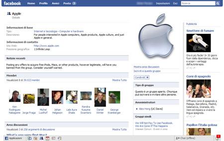 Il gruppo dedicato alla Apple