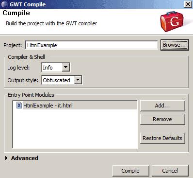 Impostazioni di compilazione