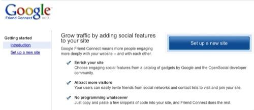 google friend connect setup new site