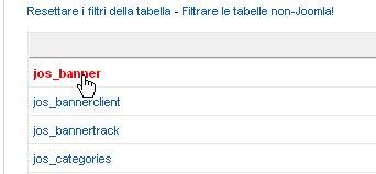 JoomlaPack esclusione tabelle database