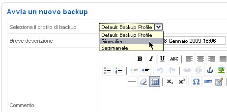 JoomlaPack avviare backup