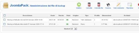 JoomlaPack amministrazione file backup