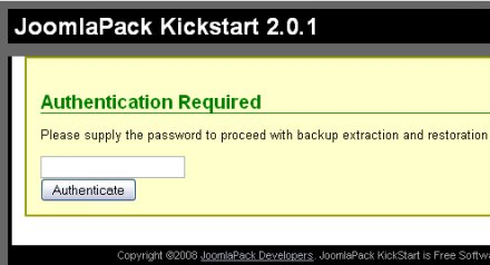 JoomlaPack autenticazione