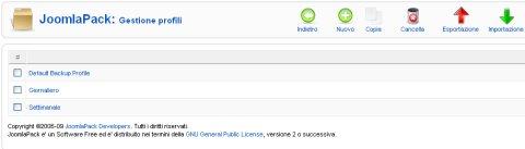 JoomlaPack gestione profili