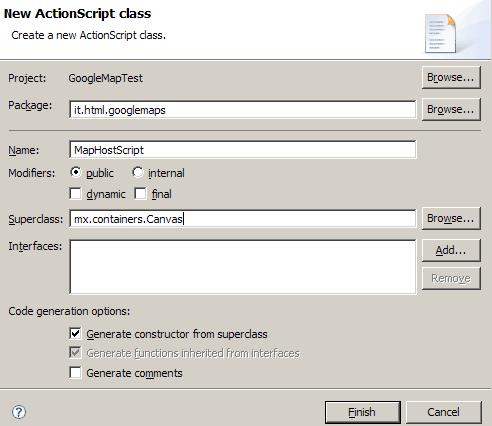 Nuova classe ActionScript