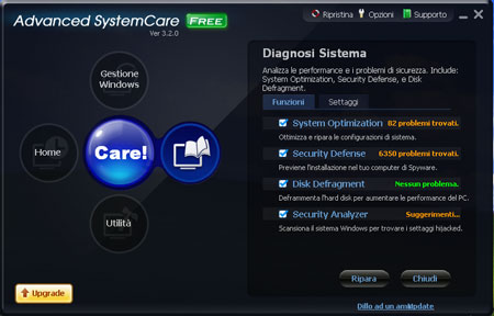 L'interfaccia principale del software