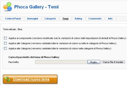 Modifiche al tema di Phoca Gallery