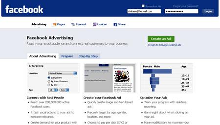 La pagina di Facebook advertising