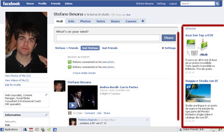 Gli Ad space di Facebook