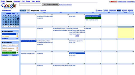 L'interfaccia di Google Calendar