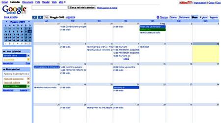 L'interfaccia di Google Calendar