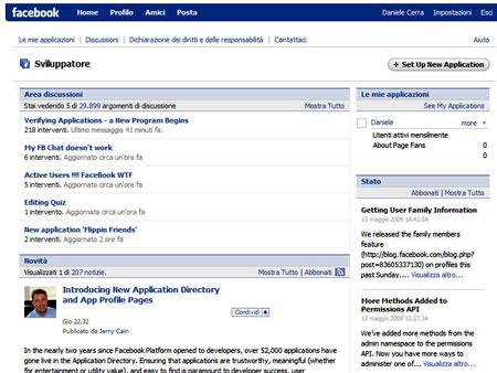 L'applicazione sviluppatore di Facebook