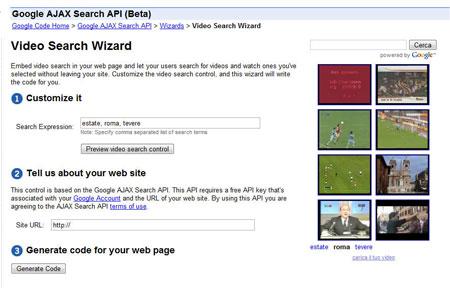 La creazione di una video search