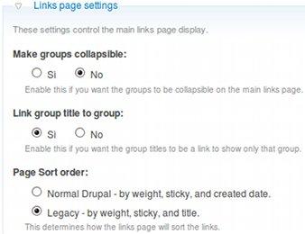 Web links impostazioni generali