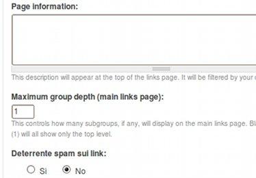 Web links page settings