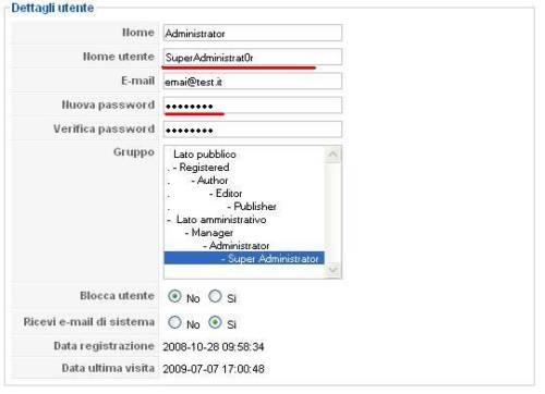 Joomla modifica nome utente e password