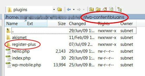 cartella plugins wordpress