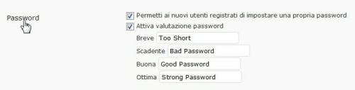 Attiviamo valutazione password
