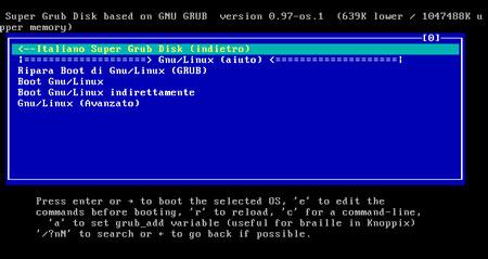 Super Grub Disk - menu principale