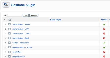 gestione plugin Joomla