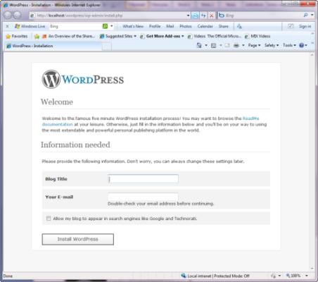 Configuriamo WordPress per il nostro blog