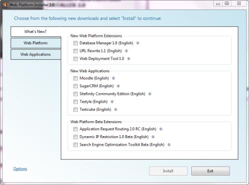 Opzioni Web Platform Installer 2.0
