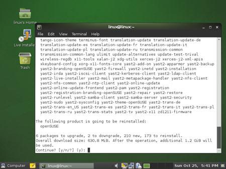 Aggiornamento live di OpenSUSE