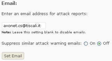 Email a cui inviare gli attacchi