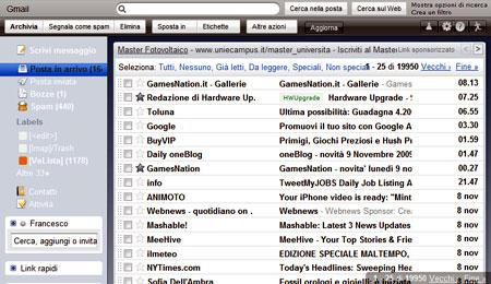 Gmail con il tema Mac OS X