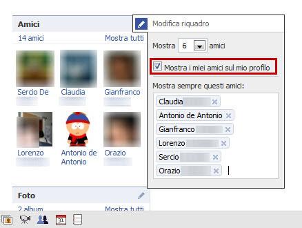 Nascondere la lista di amici dal profilo
