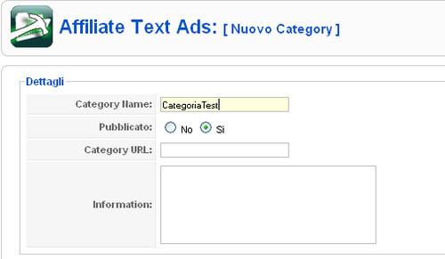Affiliate Text Ads nuova categoria