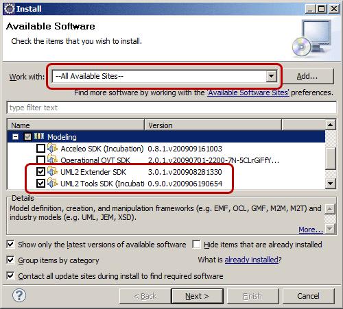Selezionare i tool per UML