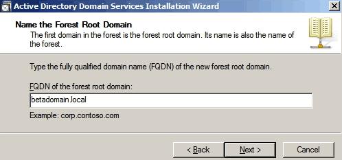 Inserimento del nome di dominio
