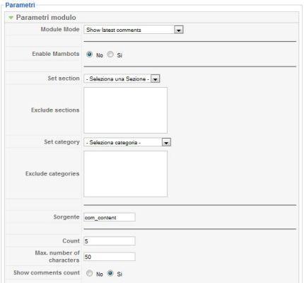 Jcomments configurazione
