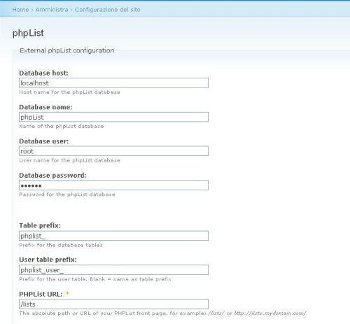 Configurazione phplist