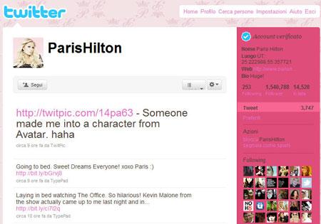 L'account Twitter di Paris Hilton